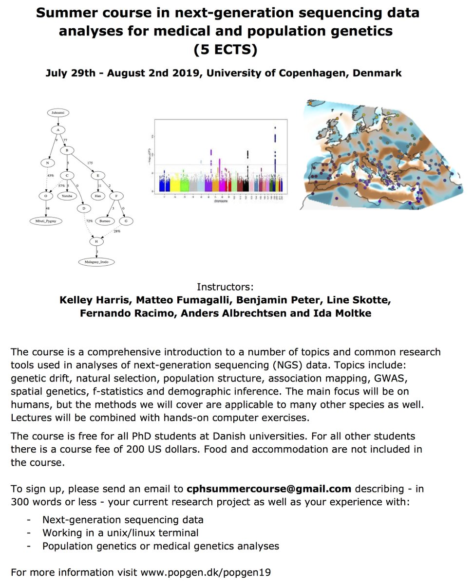Announcing our annual summer PhD course in population and medical genetics at @uni_copenhagen! Featuring @Kelley__Harris @LSkotte @benmpeter @matteo_fuma @idamoltke @A_Albrechtsen. Here's the website with more info: http://www.popgen.dk/popgen19