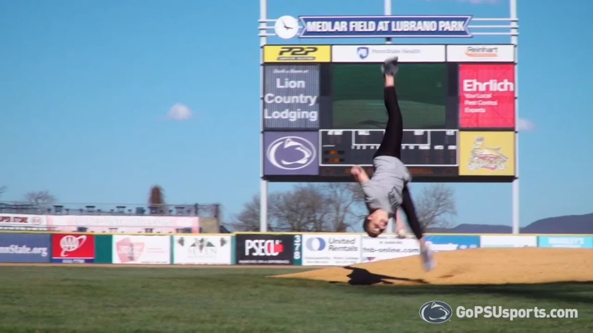 It's first-pitch season, and here's one you should *not* try to replicate.  Well done, @PennStateWGYM's coach Sarah Brown! 😱  (via @PennStateBASE)