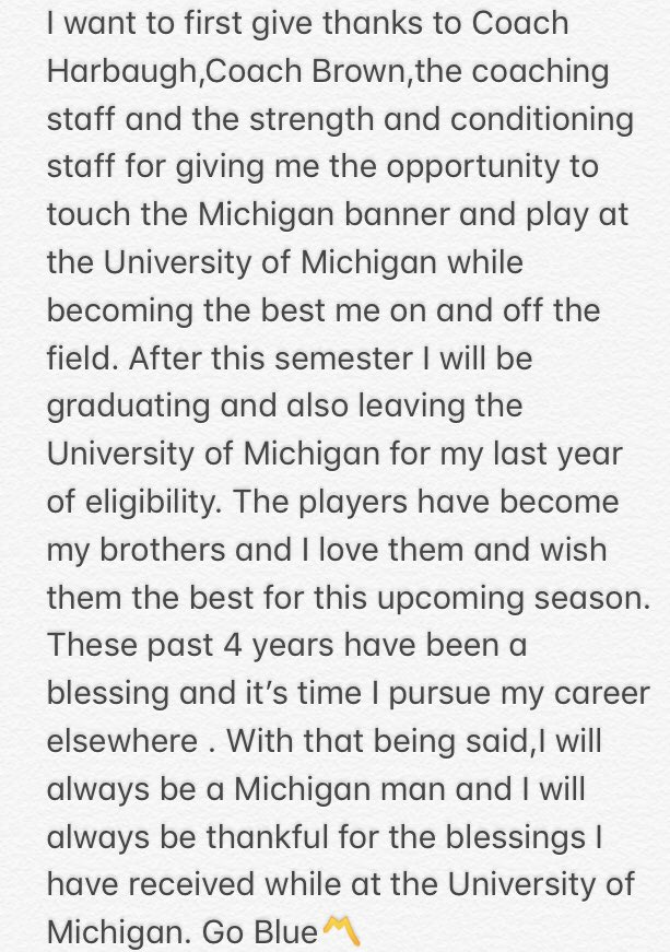 Michigan Football Player Announces He's Transferring