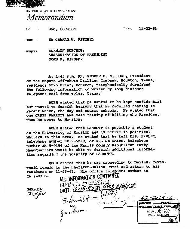 Don't forget this FBI memo. Written on the day.
