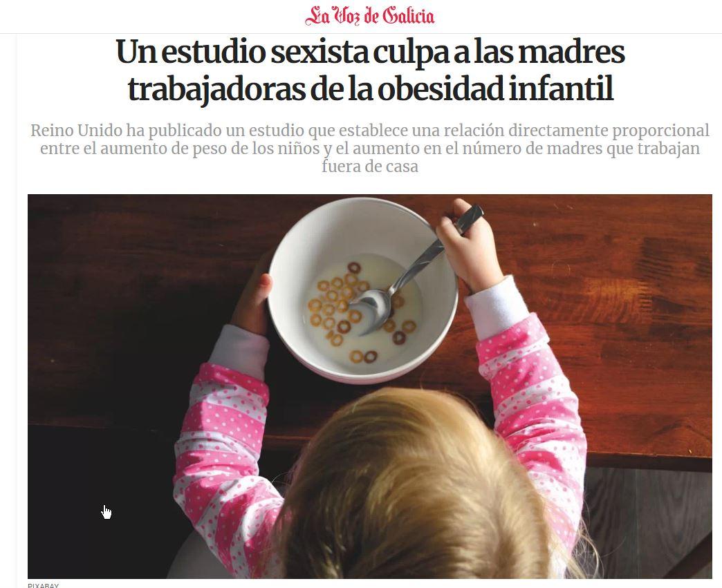 Grazas a @lavozdegalicia por apostar por titulares con #perspectivadexénero. Coma este 👉 Un estudio sexista culpa a las madres trabajadoras de la obesidad infantil https://bit.ly/2JmNSJz