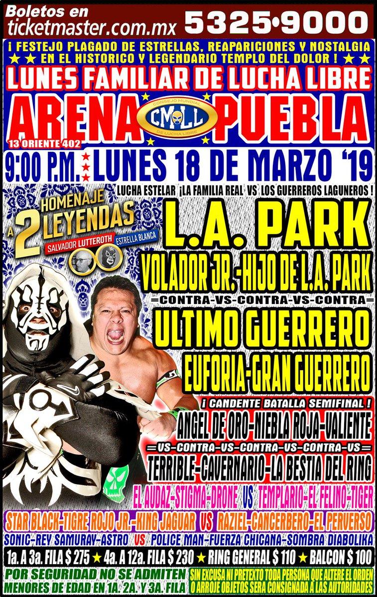 CMLL: Homenaje a Dos Leyendas en Puebla, reaparece LA Park 1