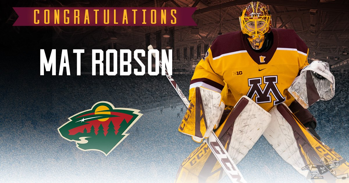 #Gophers junior Mat Robson has signed a two-year entry-level contract with the @mnwild. #PrideOnIce  Thanks for everything, Robby!    Story: https://z.umn.edu/46hw