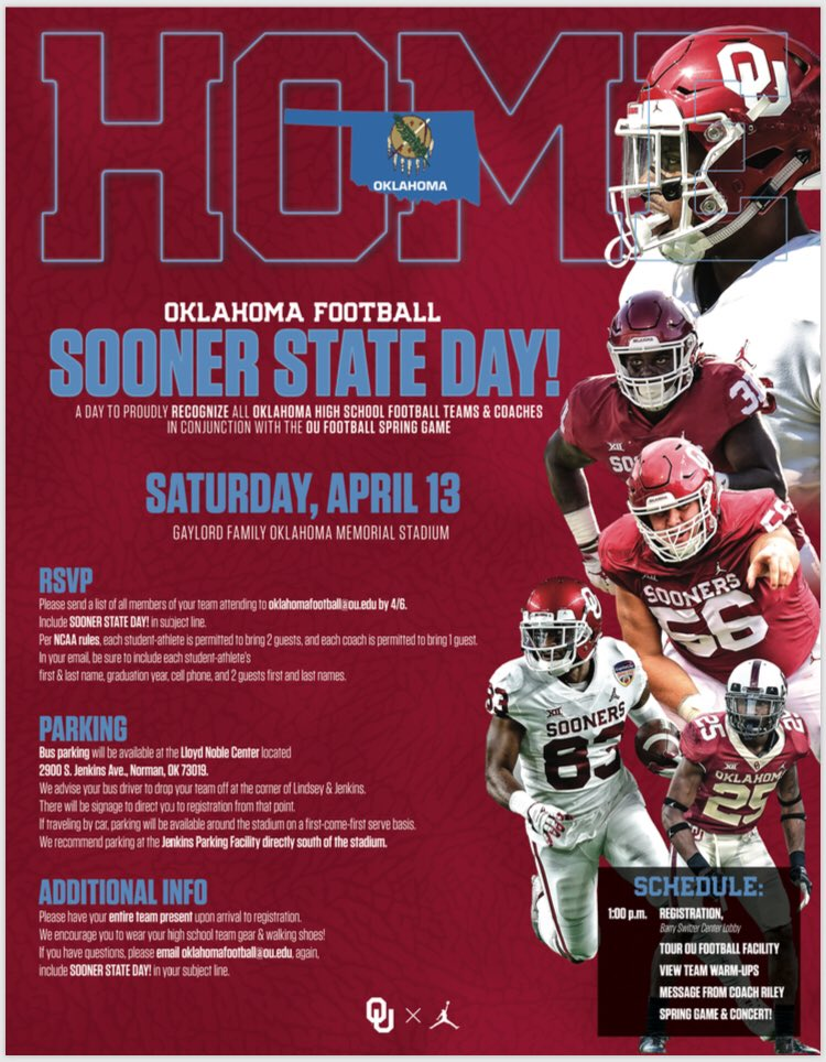 Calling all Oklahoma high school teams and coaches!  We're celebrating our great state at the Spring Game and want you to be part of it. Info &amp; RSVP details below.  There's only #OneOklahoma #OUDNA #BoomerSooner<br>http://pic.twitter.com/KcifVB73BR
