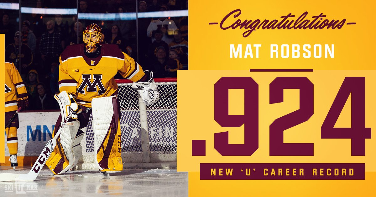 In foregoing his senior season with the #Gophers, Robson has now set a new #PrideOnIce career save percentage record at .924.
