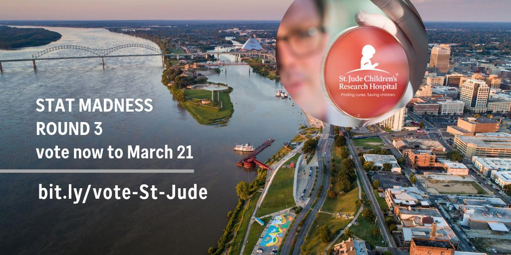 Hi there Memphis—our hometown city. St. Jude made it to #STATMadness, Round 3. So, we need some votes (and shares) from thee. Just vote using this convenient bitly ---> http://bit.ly/vote-St-Jude #MemphisMonday