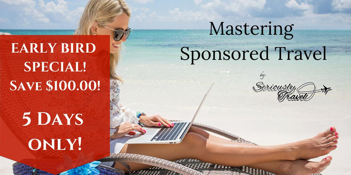Ready to take your travel blogging to the NEXT level? Mastering Sponsored Travel shows you how. The first 25 bloggers to sign up before the official launch of the course on 25 March will qualify. https://www.seriouslytravel.com/mastering-sponsored-travel-early-bird-special/ … #travelblogger #blogger #travel #sponsoredtravel