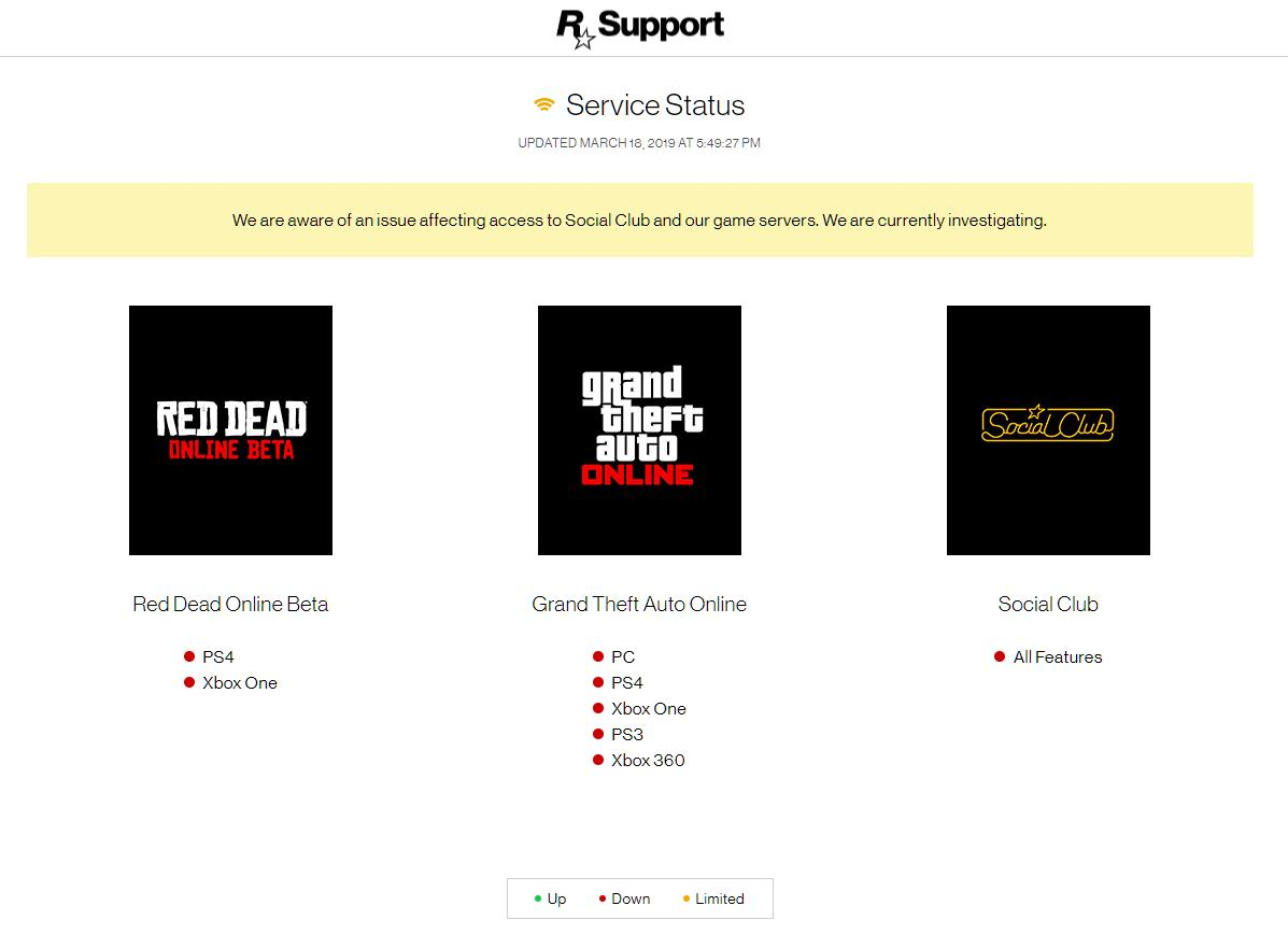 Can't play GTA Online right now?  #GTAOnline, #RDROnline and Social Club are down.  Status page here: https://support.rockstargames.com/servicestatus