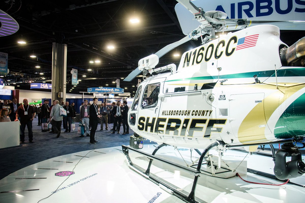Quick look on the static display at @HELIEXPO.  The Hillsborough County Sheriff's Office @HCSOSheriff #H125 is in the spot light! #HaiExpo19<br>http://pic.twitter.com/gc3oY1FMcU