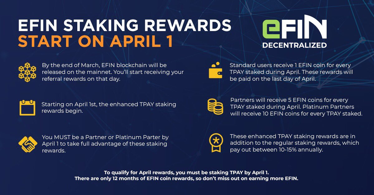 But Theyre Only 12 Why And How To Begin >> Tokenpay On Twitter Staking Rewards For Efin Coins Start April