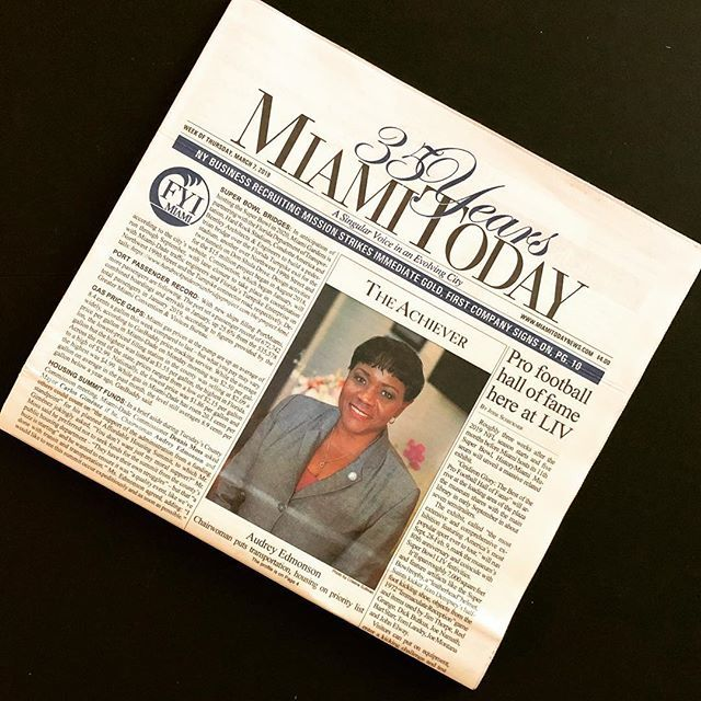THIS WEEK'S FRONT PAGE ACHIEVER Audrey Edmonson: Chairwoman puts transportation, housing on priority list.  Believe it or not, Audrey Edmonson initially had little interest in politics. It took coaxing to get the Miami native to make her first run for pu… https://www.instagram.com/p/BuroGh5HZxC/