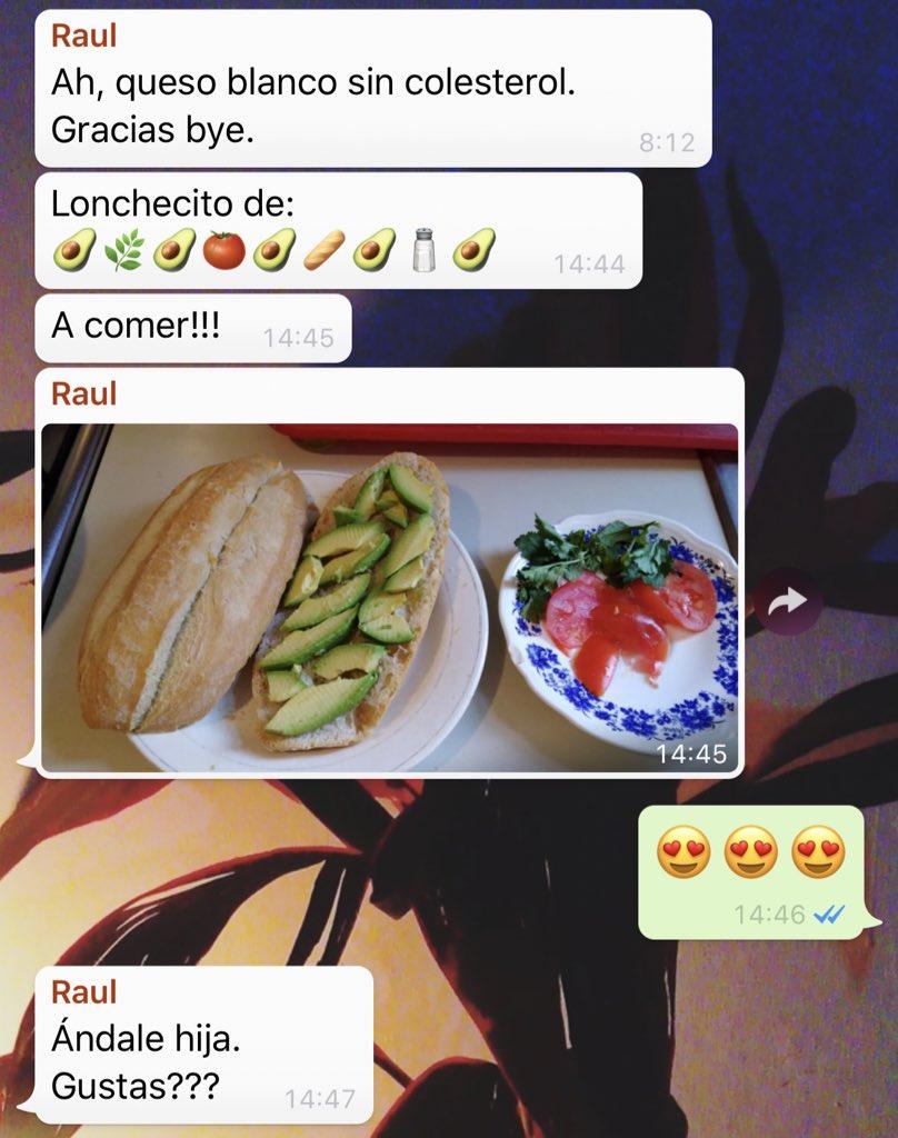 Bueno, amigos. Todo empezó con el chat de la familia dónde mi tío Raúl (qué está enfermo del hígado) nos comparte cada una de sus comidas sin colesterol. Esto pasó el 11/2.
