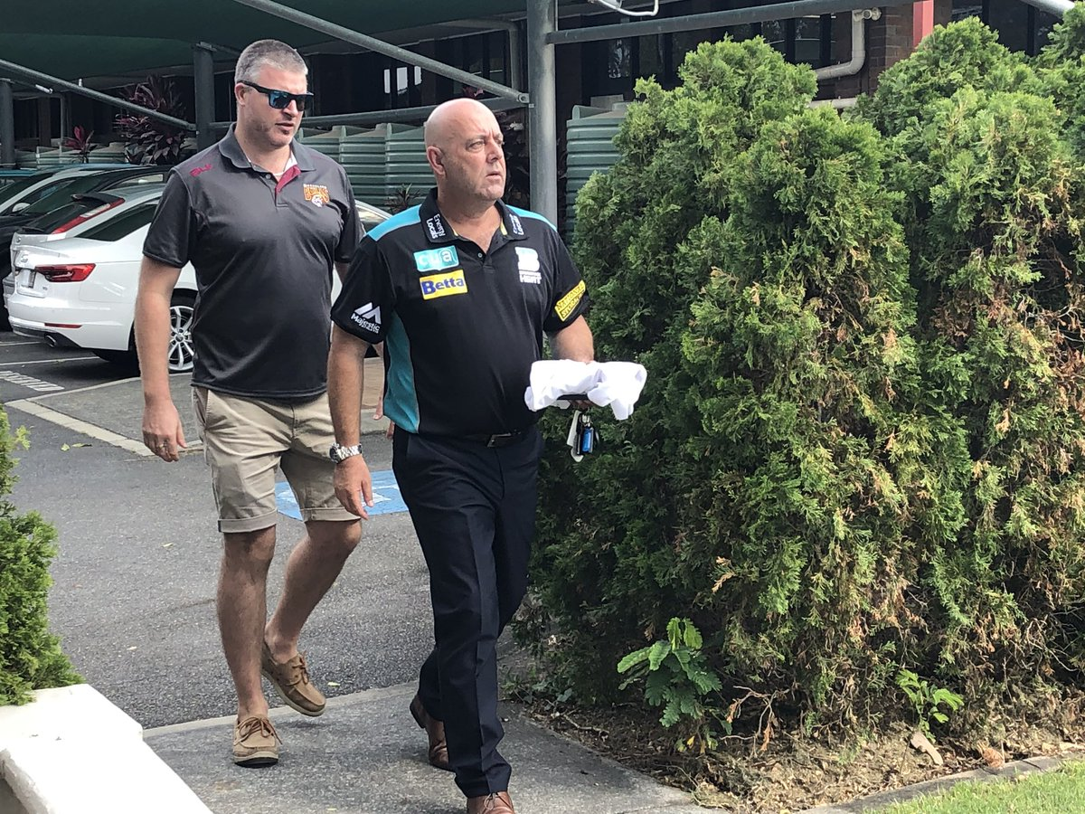Darren Lehmann arrives for his first press conference as @HeatBBL coach