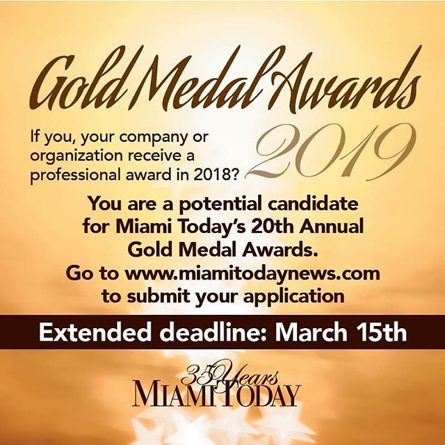 DEADLINE EXTENDED: MARCH 15 YOU COULD BE A WINNER  Miami Today's 20th Annual Gold Medal Awards  As a winner you will be: · 🥇Honored at an exclusive invitation-only reception and dinner where you will have the opportunity to mingle with past winners, … https://www.instagram.com/p/Bur0uhaHi4F/