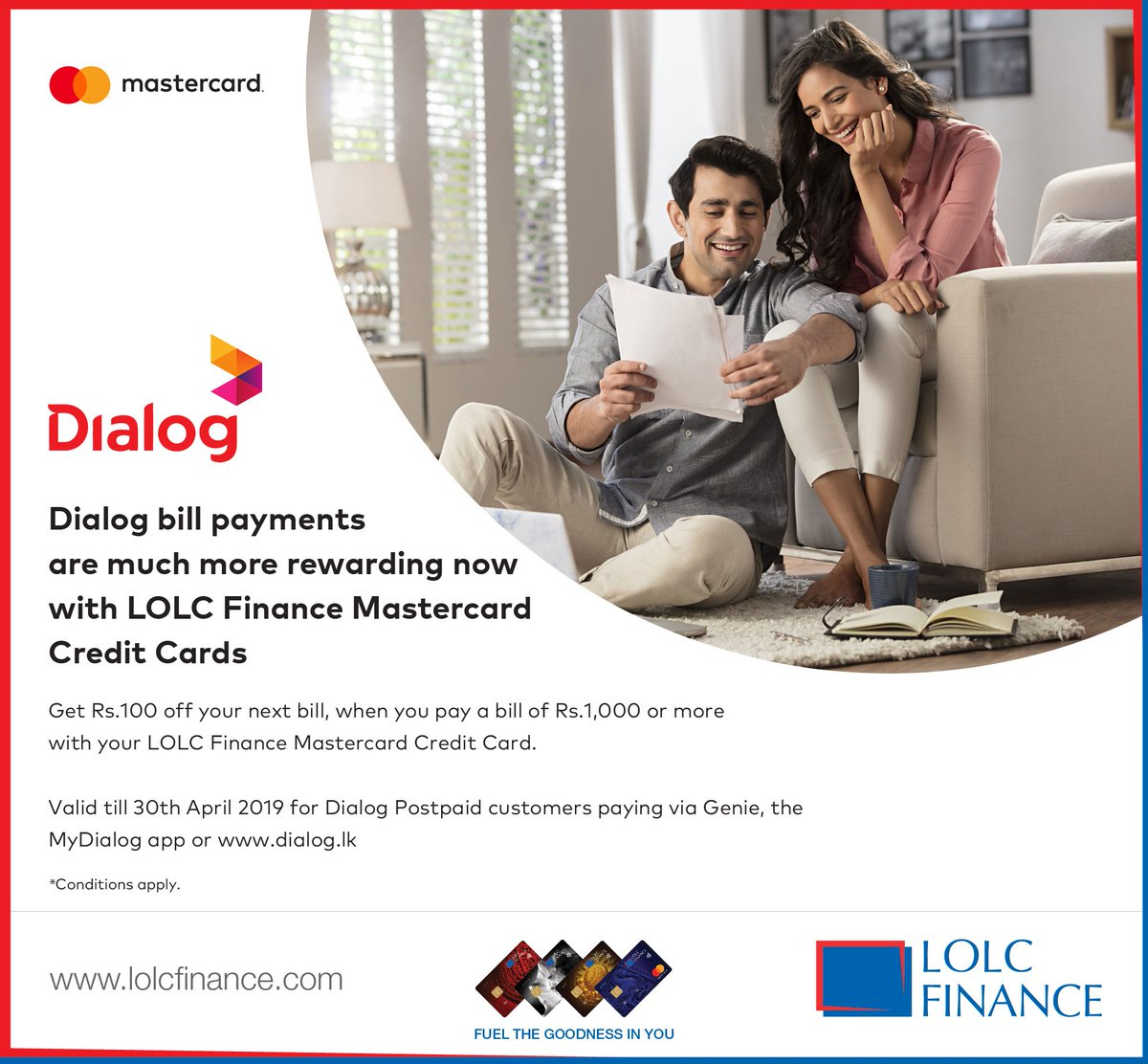Get 100/- off your next Dialog bill payment, when you pay a