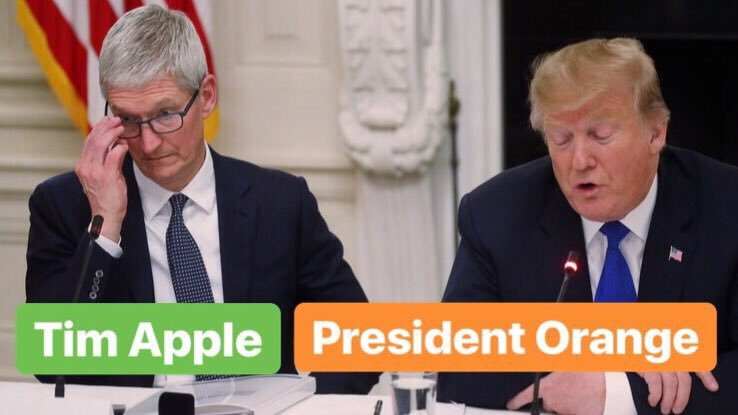 Tim Apple with President Orange 🍏🍊