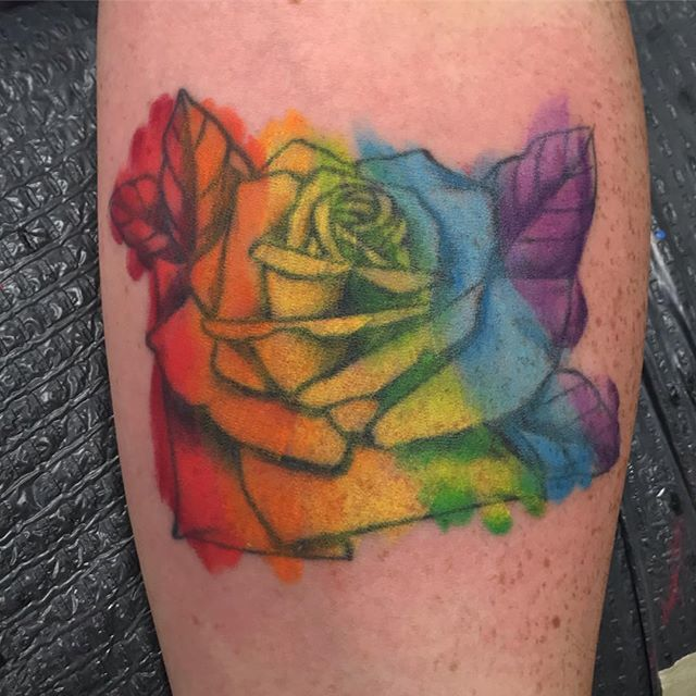 8aadf44008708 Finished up this #Pride #watercolor #rose I started on @_joshkevlola_ about  a