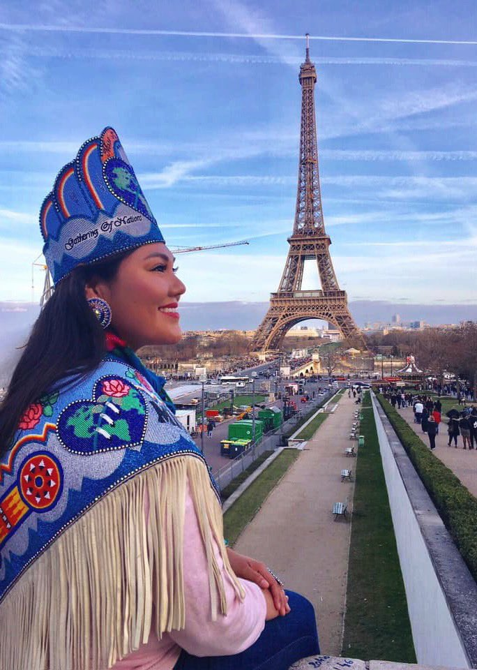 """Even in Paris, France, I will forever carry my culture with pride, honor my ancestors, and always finding the opportunity to culturally educate others. That's my biggest responsibility as an indigenous person in today's society.""   📷: @missindianworld Taylor Susan"