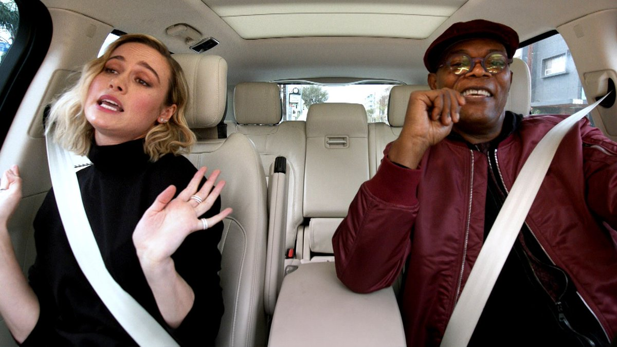 .@captainmarvel's @brielarson and @SamuelLJackson driving around singing @ArianaGrande and taking lie detector tests? We're here for it.  This must-see @CarpoolKaraoke drops this Friday! Watch it for free on the @AppleTV app: http://apple.co/Carpool_Karaoke