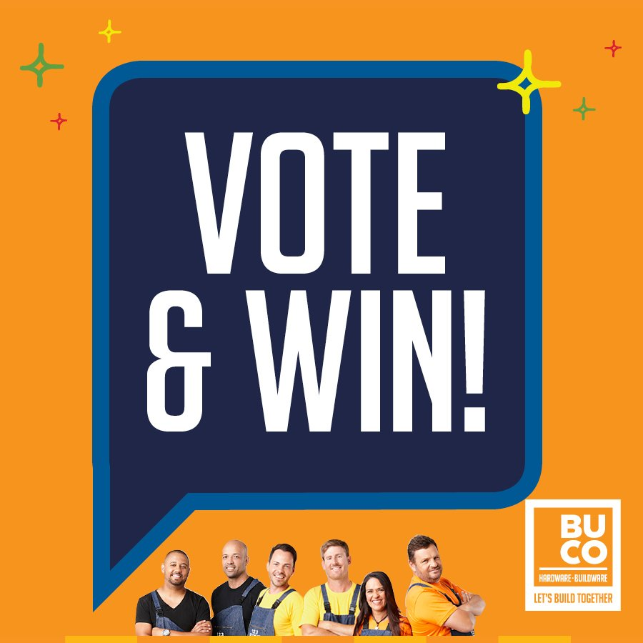 Have you voted for your favourite 1,2,3 Fixit team yet? Cast your vote to stand a chance to WIN a R1000 BUCO Voucher or the GRAND PRIZE worth R50,000! It's that simple! BUCO &amp; Timbercity, proud sponsors of #123Fixit ! Enter here &gt;  http:// bit.ly/2SxBOV5  &nbsp;  <br>http://pic.twitter.com/jTIkCM4STA