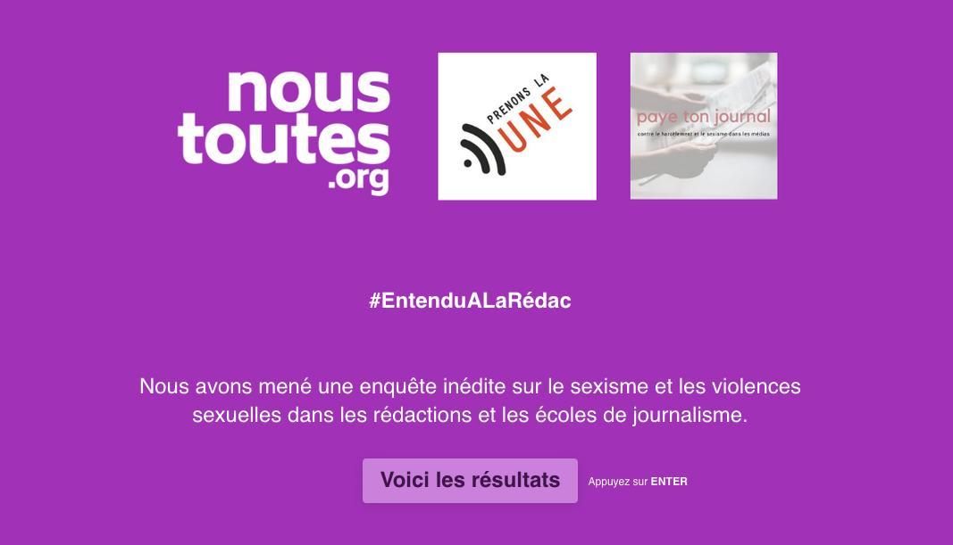 Avec @Prenonsla1 et @Payetonjournal, nous avons mené une enquête inédite sur le sexisme et les violences sexuelles dans les rédactions et les écoles de journalisme. Voici les résultats. #EntenduALaRédac ⤵️ https://t.co/fqcyq0Wayv https://t.co/rXLmFFb17D