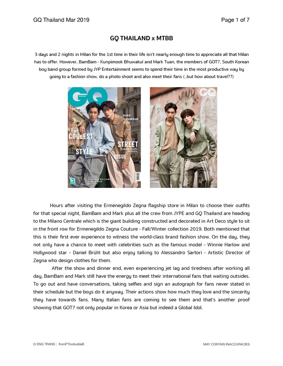 """(TRANS) GQ Thailand x MTBB   """"We are like opposite poles of a magnet that attract each other. We are totally different but we are compatible at the same time.""""  #GQThailandXMTBB  #MarkTuan #BamBam<br>http://pic.twitter.com/4dsn8Rbihk"""