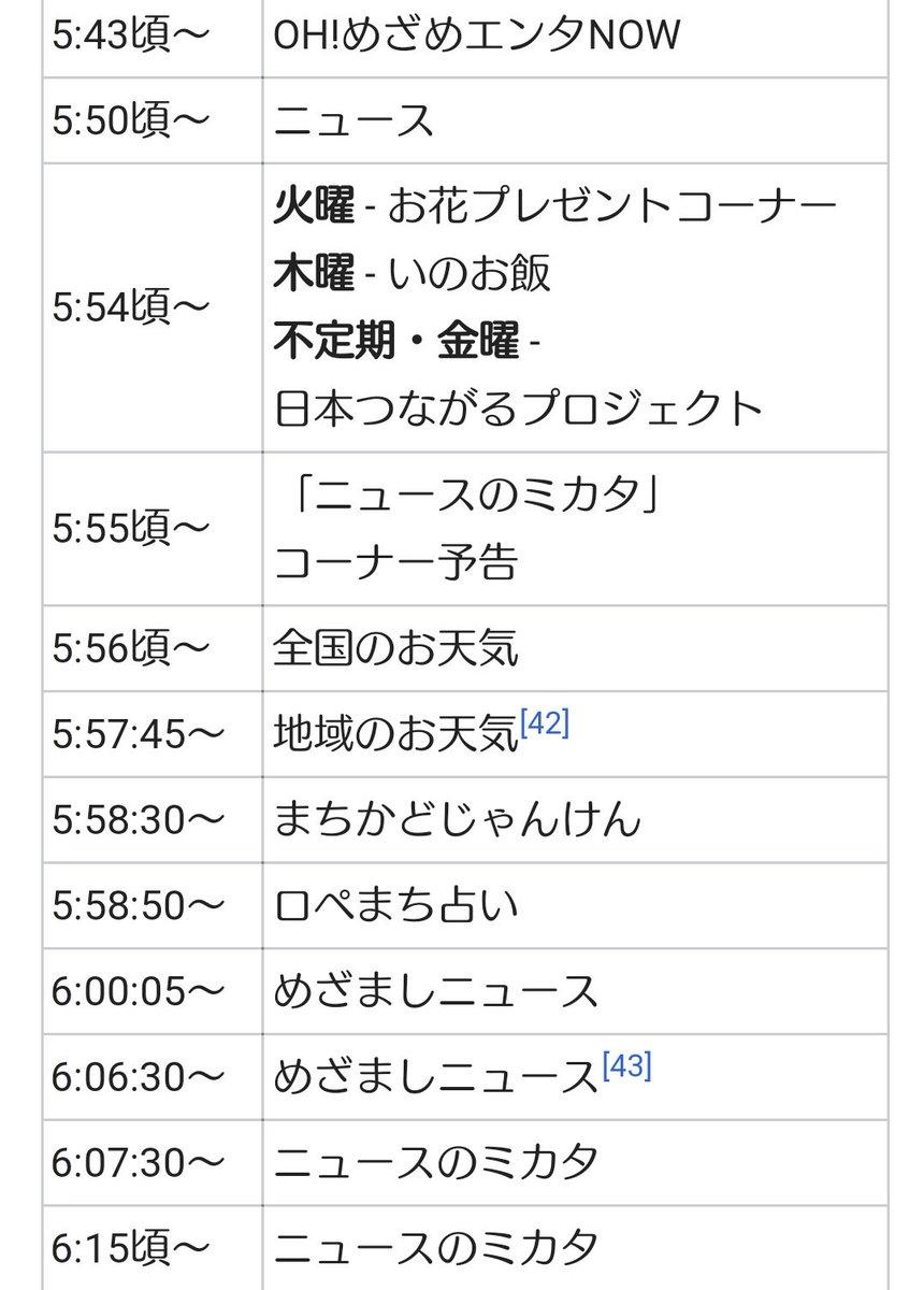 めざまし テレビ タイム スケジュール