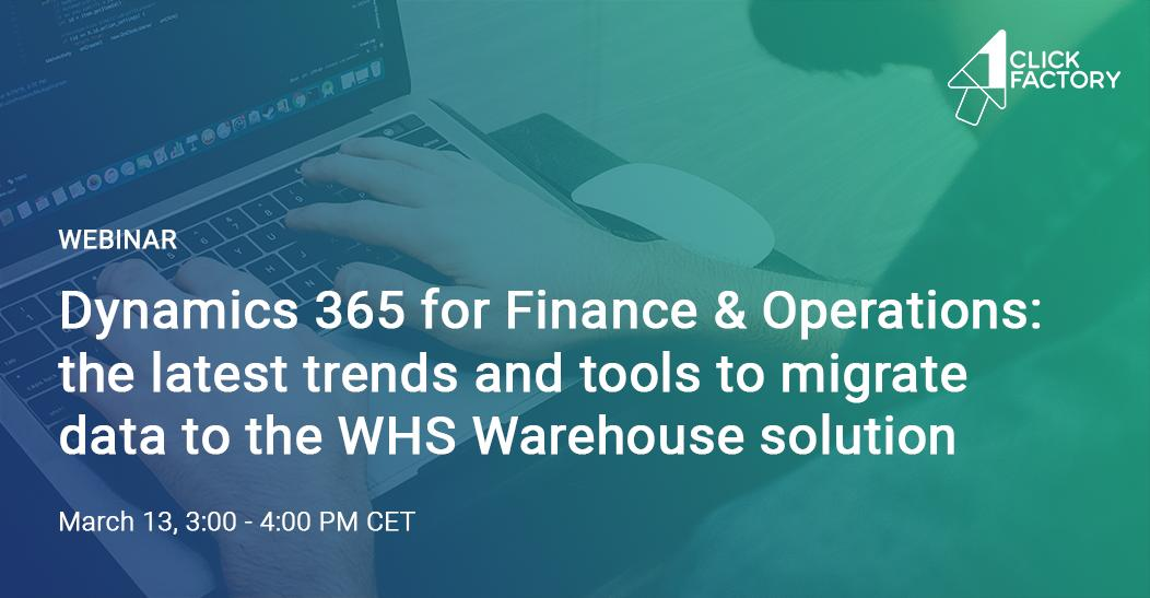 Last chance! Join the EXCLUSIVE @1ClickFactory 'Successfully Migrate Data to #MSDyn365FO WHS Warehouse Solution' webinar to discover exactly what is needed for a successful migration. | Only a few spots left! – Wed. Mar. 13 at 3 PM CET >> https://bit.ly/2Etvx8T  #MSDYN365BC