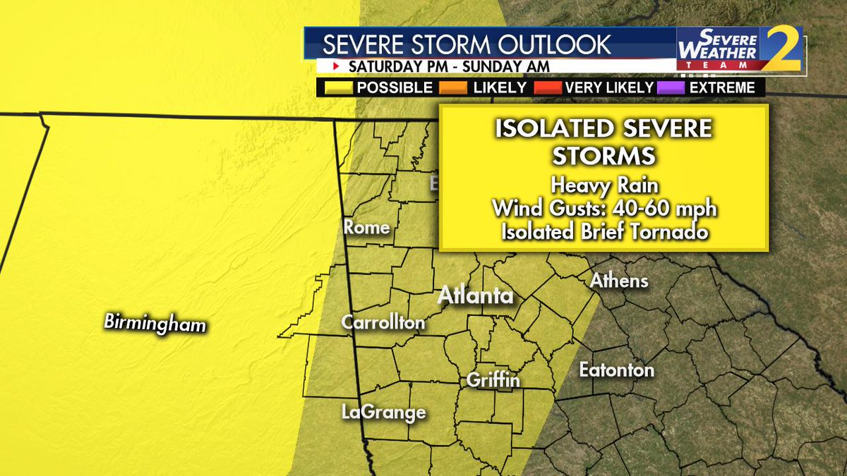 Be weather aware: severe storms possible this weekend: -- severe