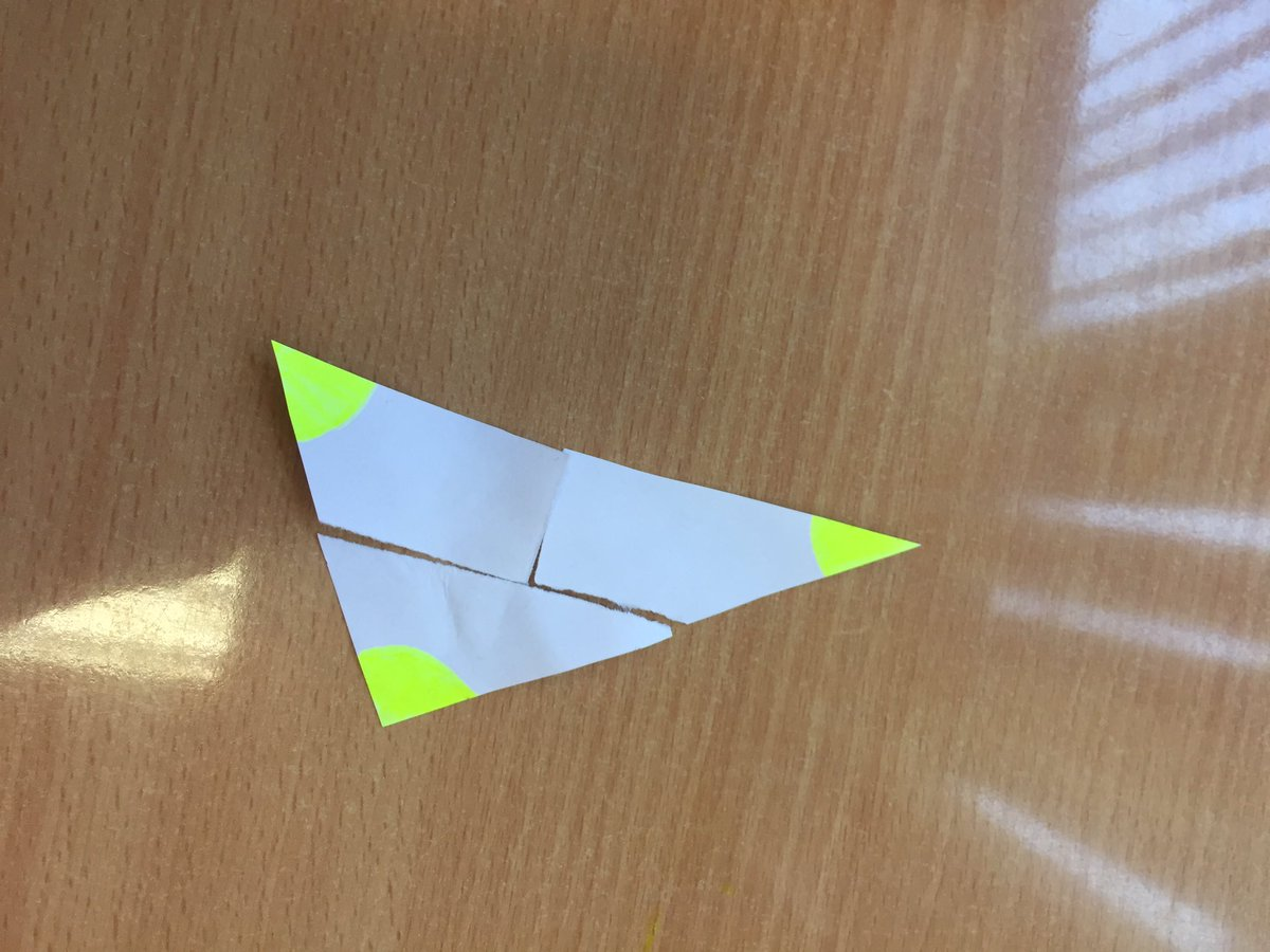 Simple and effective way for first year students to investigate the sum of all angles for any size of triangle #activelearning #geometry