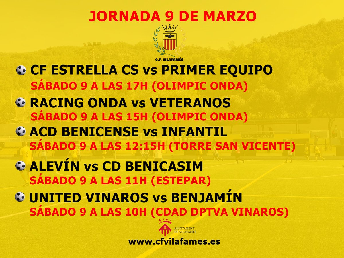Nuevo fin de semana de fútbol para el CF Vilafamés.  Estos son los horarios de la próxima jornada de liga. #amuntvilafamés #cfvilafamés #ligacfv