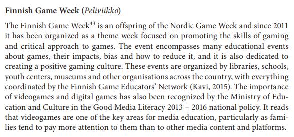 Suomalainen  mediakasvatus on Euroopan kärkeä tuoreessa parhaita  eurooppalaisia käytäntöjä vertailevassa raportissa. Myös  peliviikko on  komeasti esillä. d8e8aee505