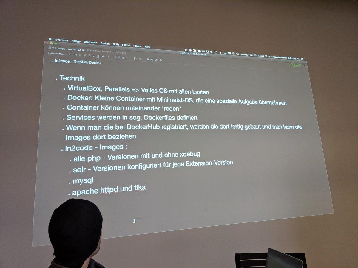 Jetzt zeigt uns @MarcusSchwemer und @VerteXVaaR unsere neuen #Docker Umgebungen 😍 #techtalk #internal https://t.co/Y7yVRNgchj