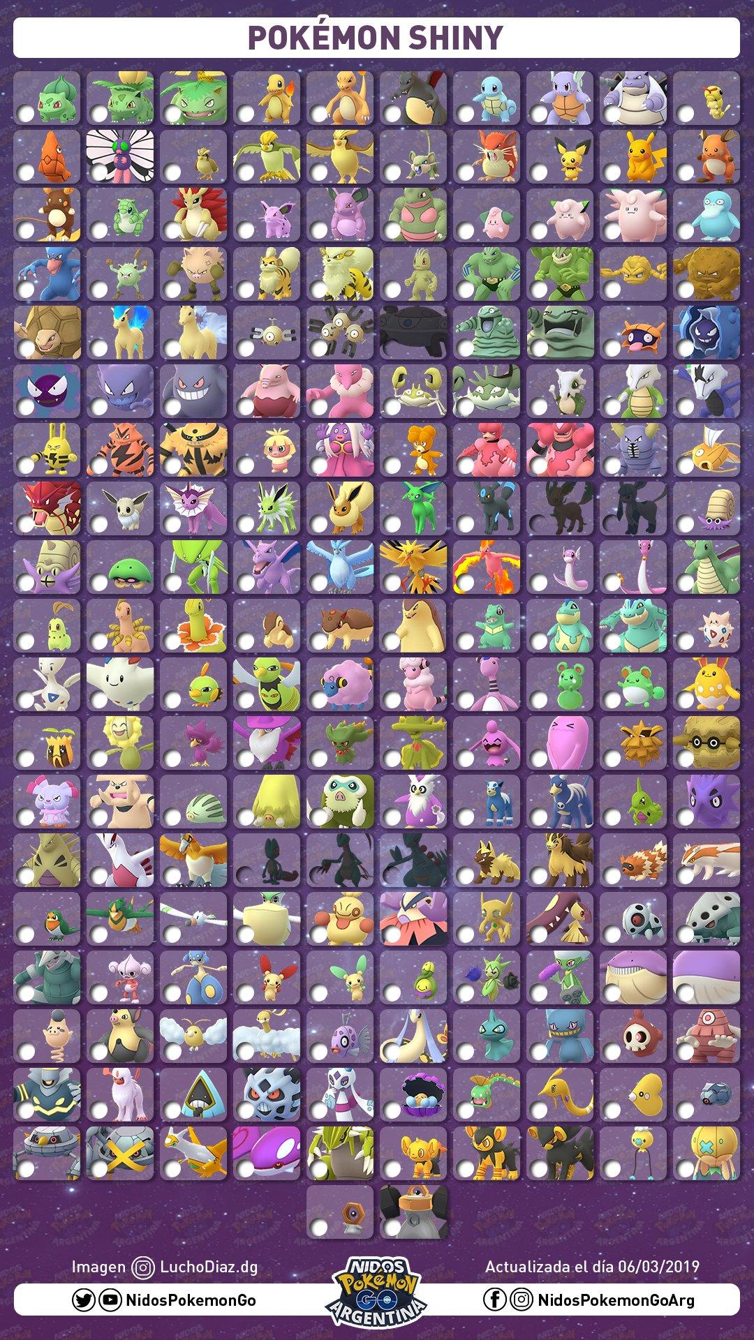 Lista de Pokémon shiny Marzo 2019 hecha por Nidos Pokémon GO Argentina