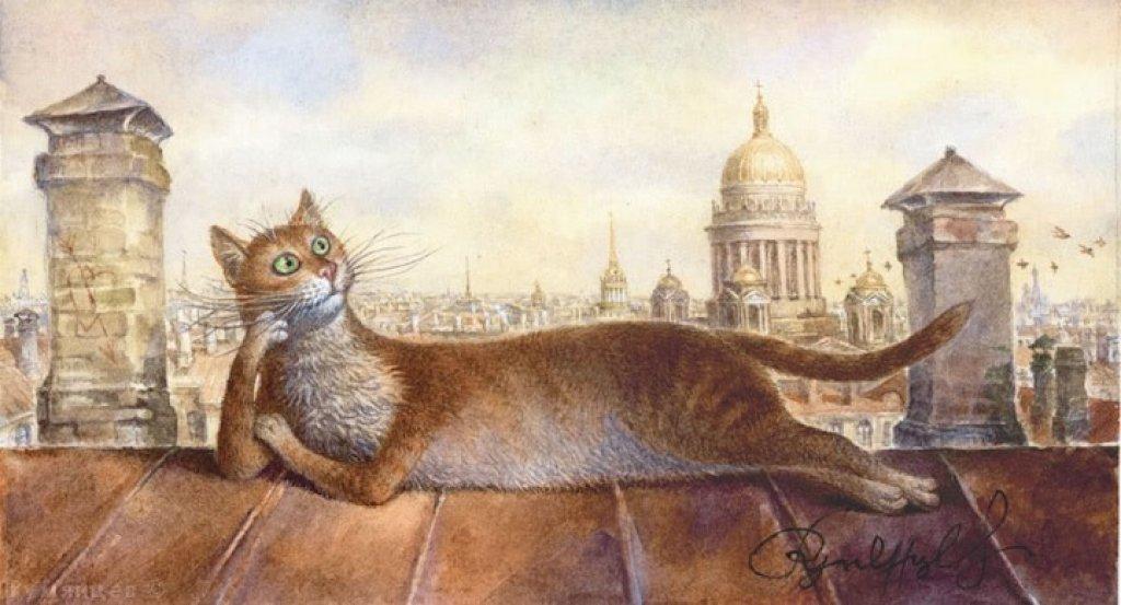 Люблю свою, кошки на крыше картинки рисунок
