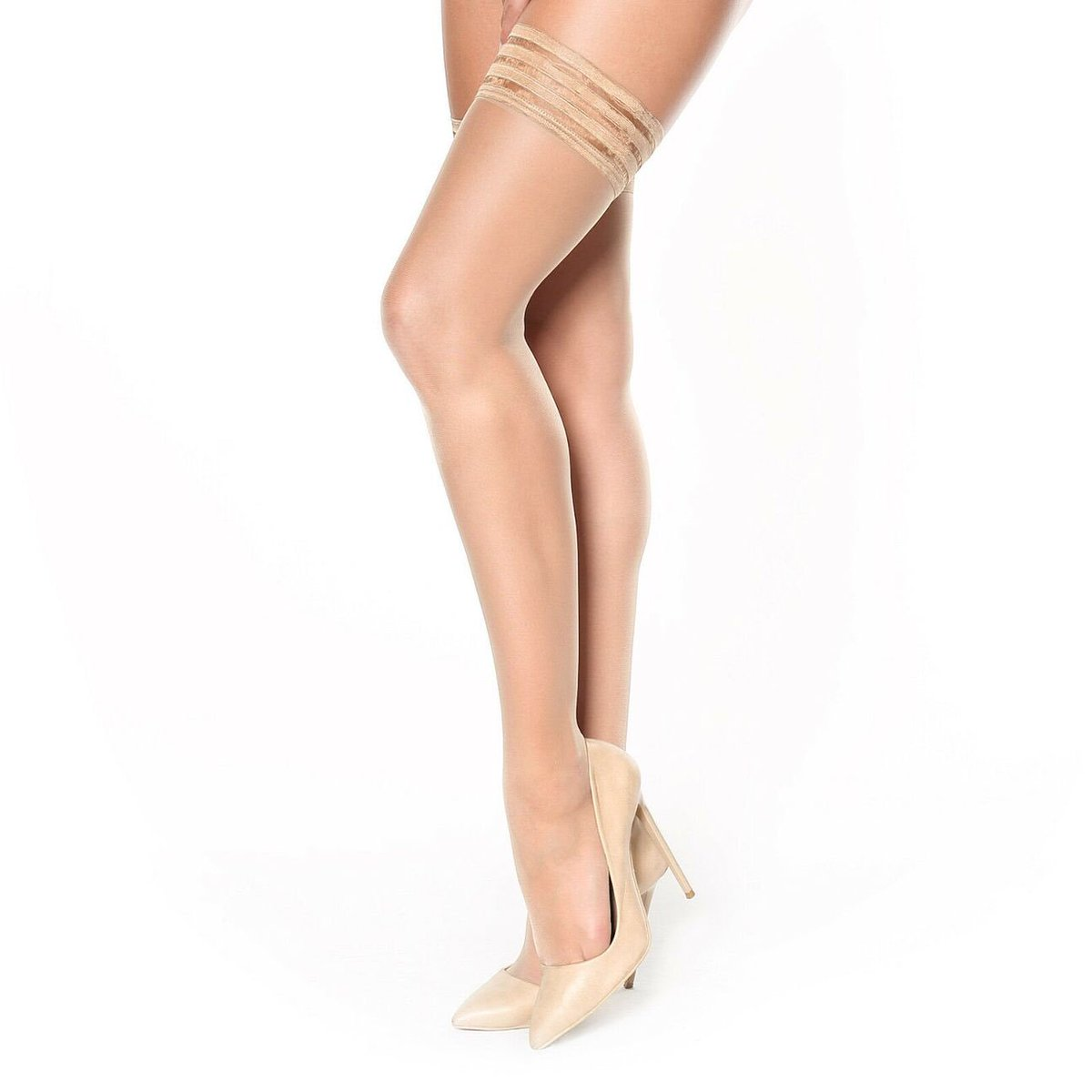 182c7a251864b Miss O Silky Hold Up Stockings in Visone. Attractive decorative tops, and  the usual