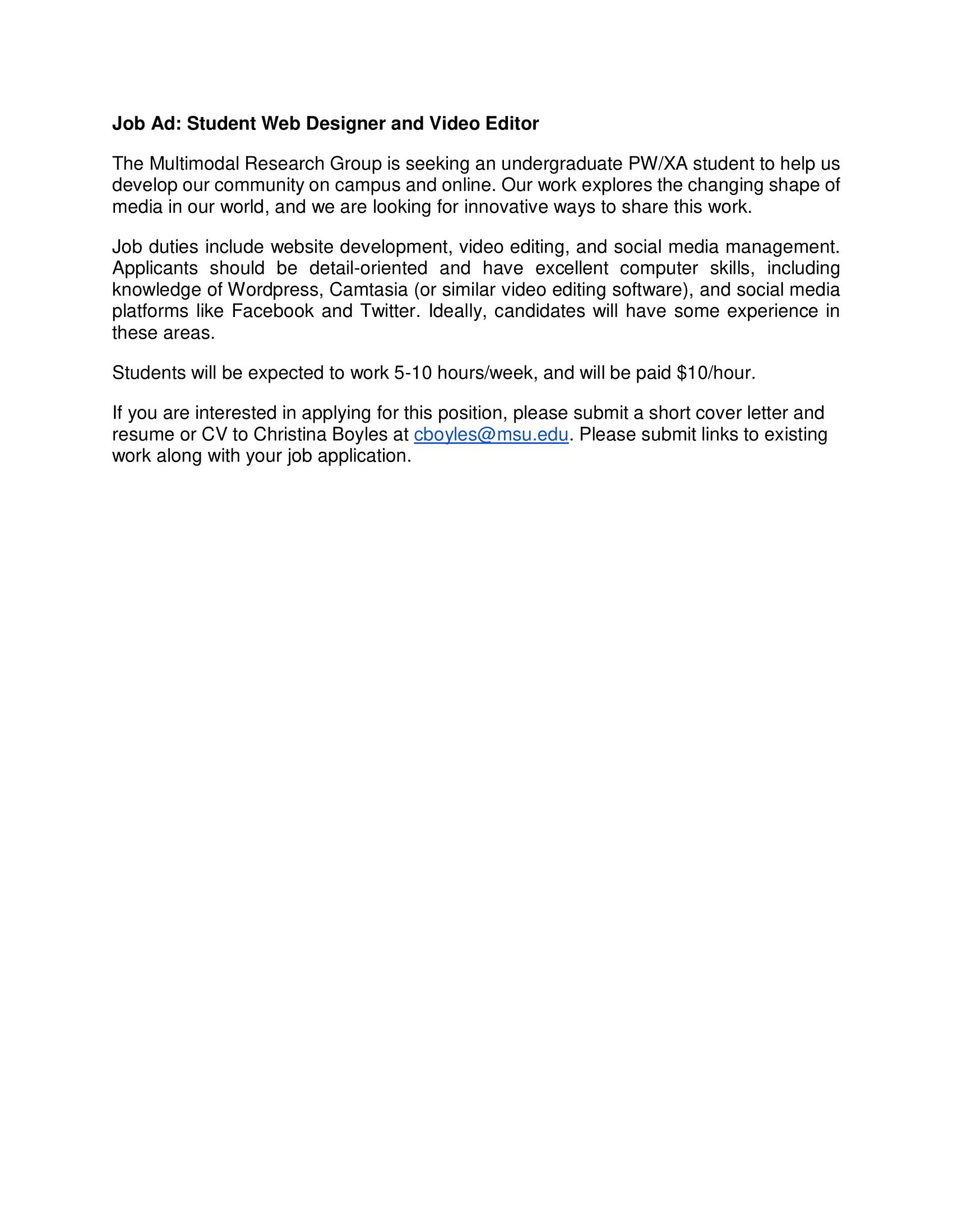 Wrac Msu On Twitter Pw Xaers The Multimodal Research Group Is Seeking An Undergraduate Student To Help Them Develop Their Community On Campus And Online If You Are Interested Please Submit A