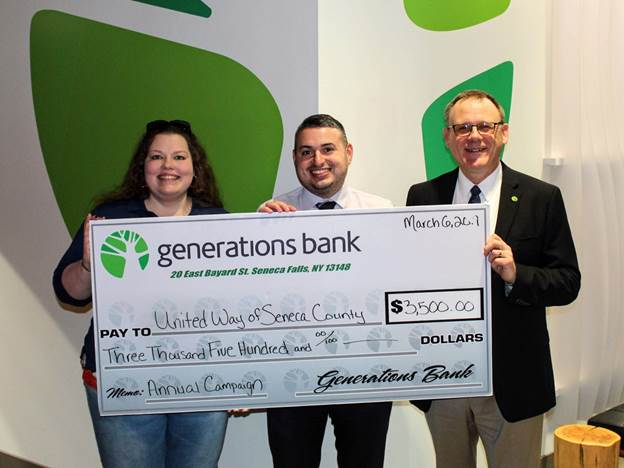Generations Bank gives back to United Way of Seneca County