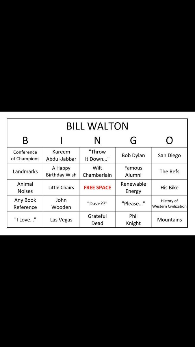 .@UCLAMBB at @CUBuffsMBB tonight on ESPN2. Plus, @BillWalton bingo! Play along...just shout out BINGO wherever you are and I'm sure Bill will hear you!