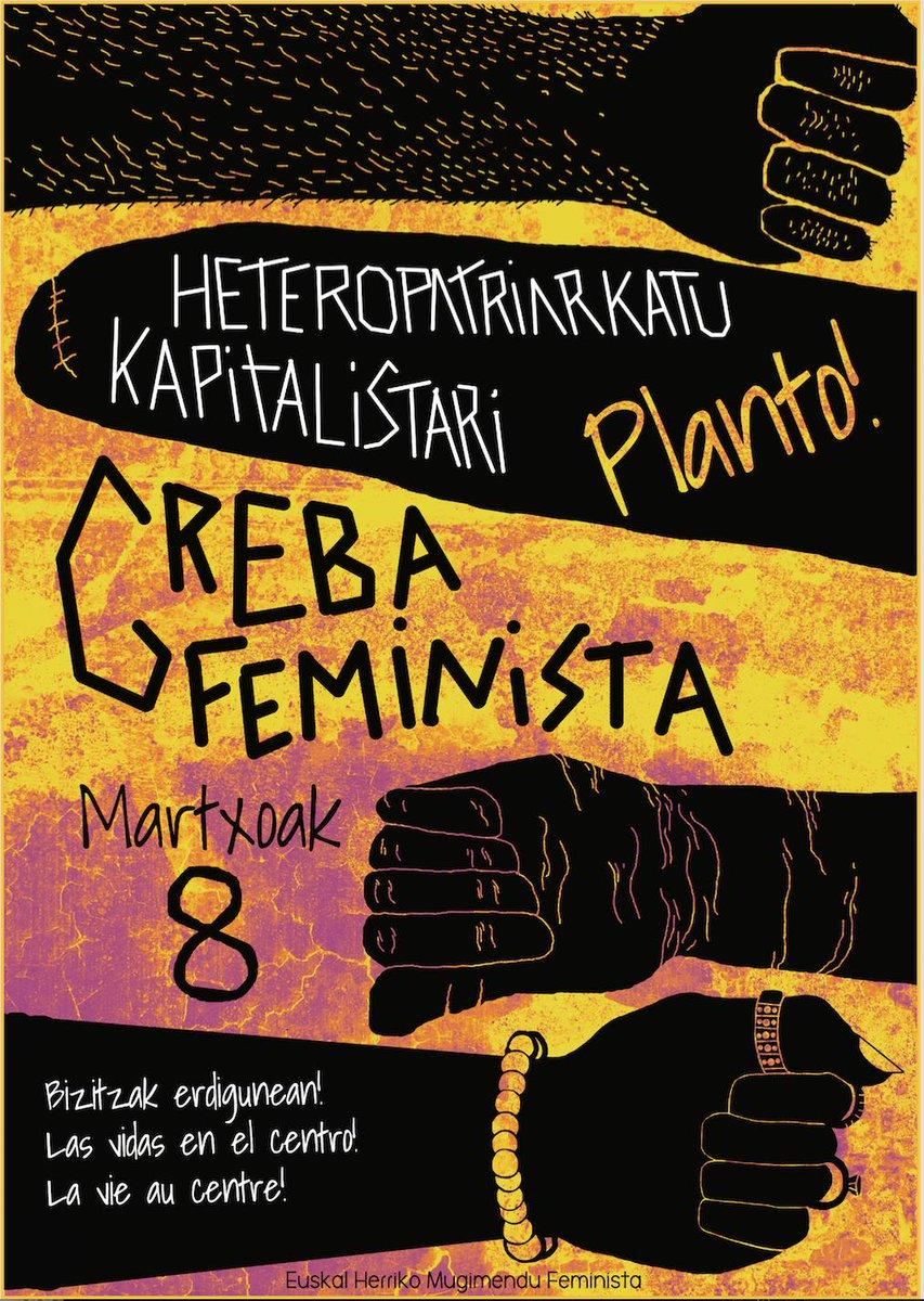 Nosotras apoyamos la huelga en sus 5 ejes y estamos preparadas para parar, y tu? LAS VIDAS AL CENTRO!  ✊🏿✊🏻✊🏾 #GREBAFEMINISTA! BIZITZAK ERDIGUNERA! ez bagaude, mundua gelditzen dela irudikatu nahi dugu! #goraborrokafeminista #hacialahuelgafeminista  #nosotrasparamos