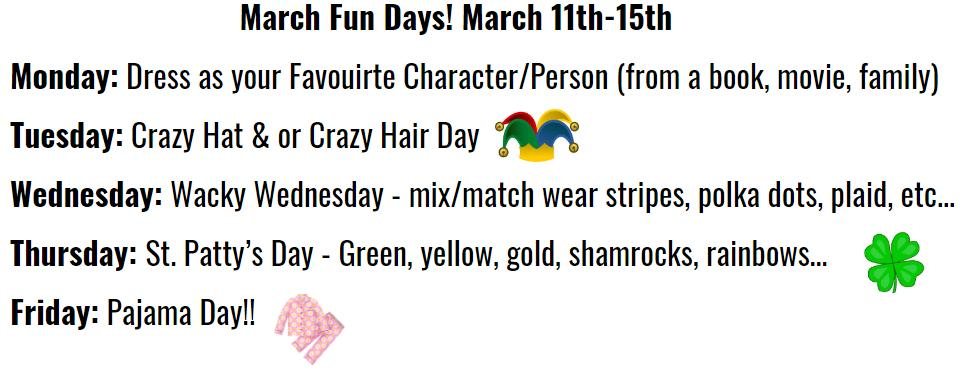March Fun Days are next week @Tupper1930