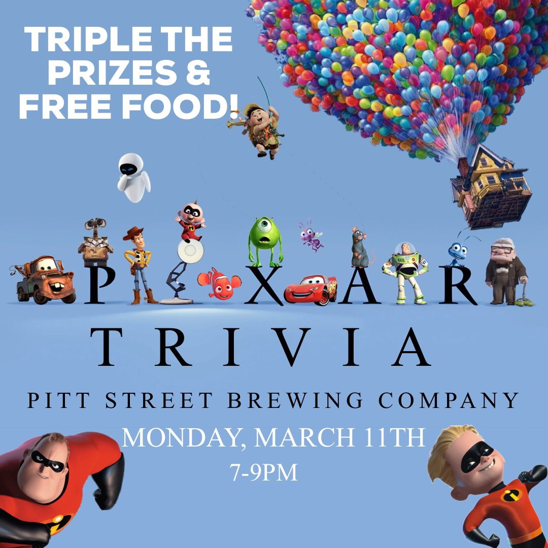 """To Infinity and Beyond!"" Pixar Trivia on Monday! Join us for free team trivia at 7pm! The District at Tar River is tripling the prize winnings and bringing food for everyone! 1st Place- $75 Pitt Street Gift Card. 2nd Place- $30 Gift Card. 3rd Place- $10 Gift Card & a Beer Glass!"