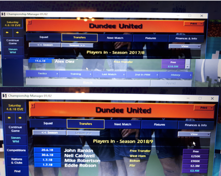 Starting the season with Dundee United - my 7th club in my 7th country in the #journeyman challenge.  5 players in / 13 players out.