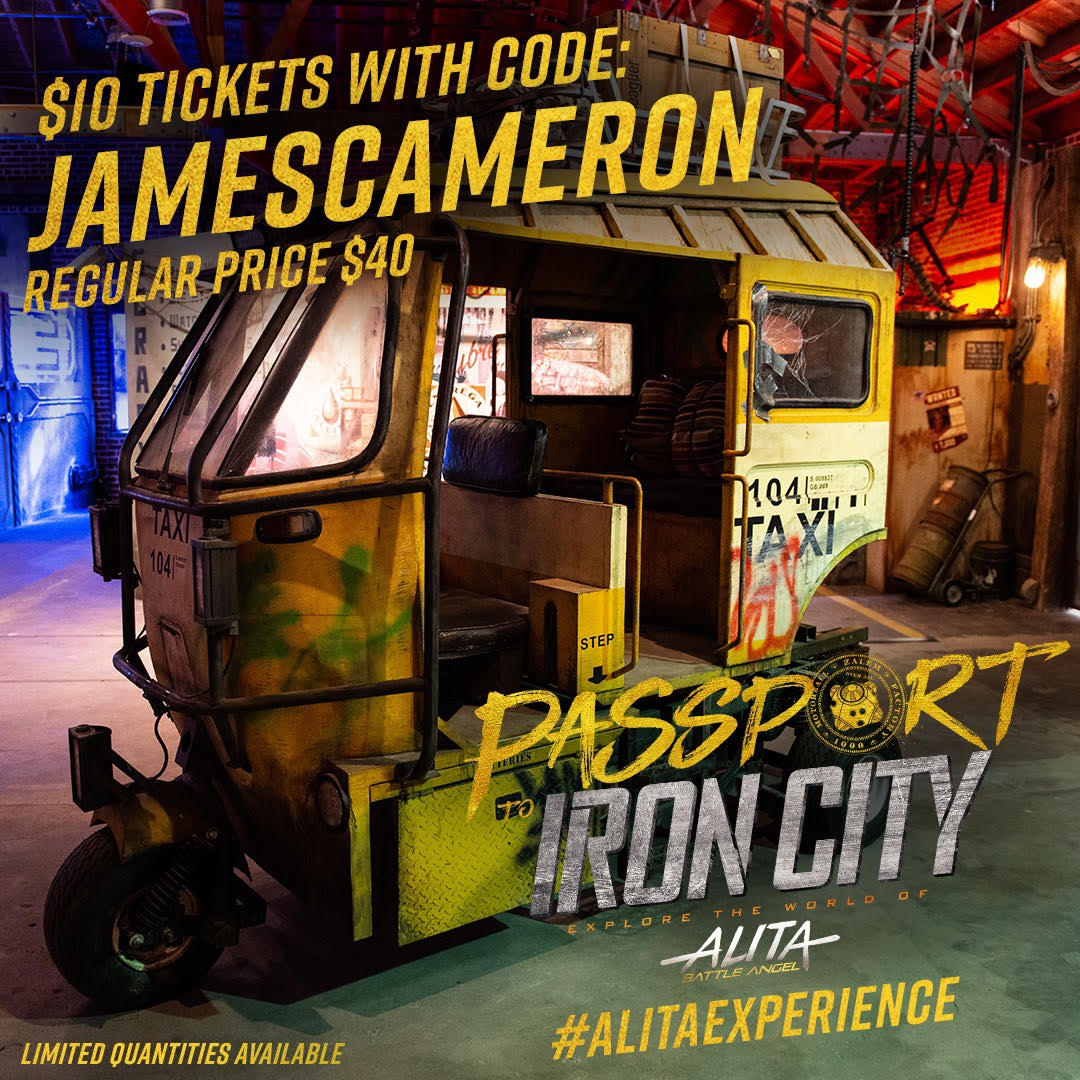 "If you like escape rooms and beer, you'll love the @AlitaExperience.  I'm giving away discounted tickets to Passport to Iron City, the 2-hour interactive experience located in New York, Los Angeles, and Austin. Use the code ""JAMESCAMERON"" at checkout: https://alitaexperience.com/"
