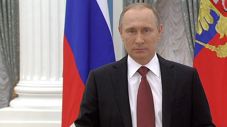 Открытка с портретом президента, изображением тюльпанов картинки