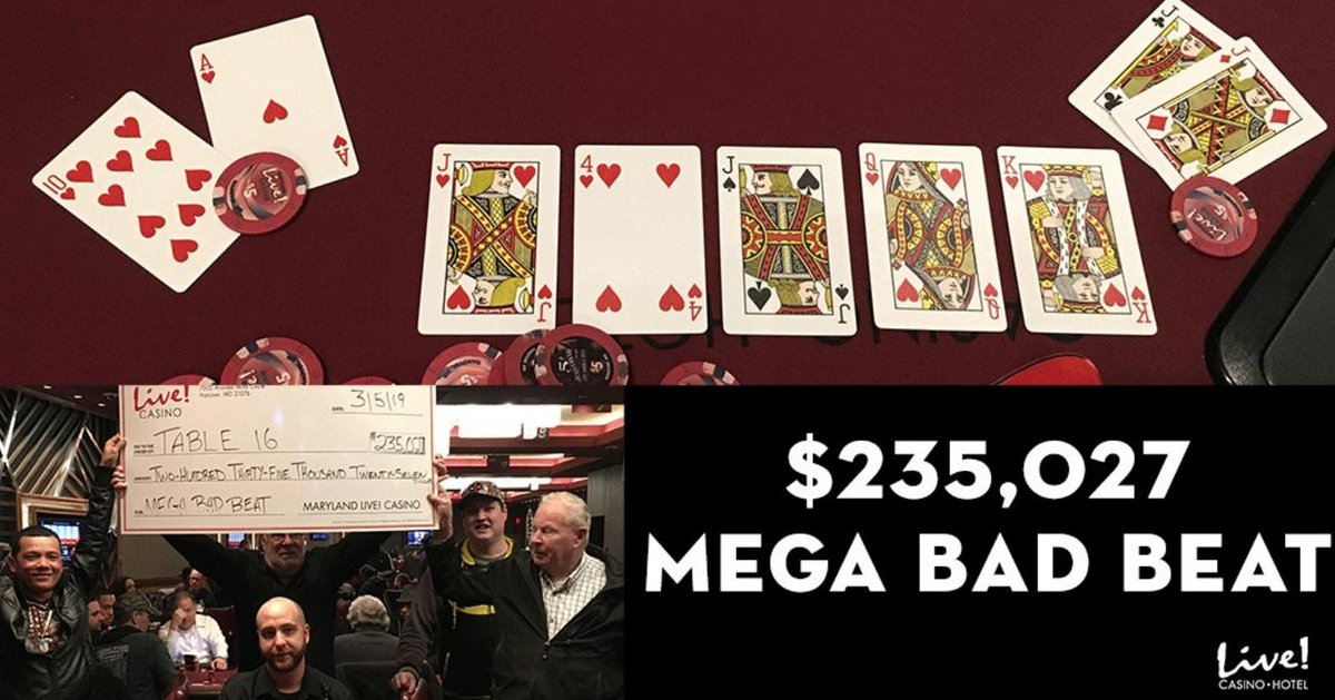The mega bad beat jackpot hit at Maryland Live earlier this week for over $235,000...Classic royal flush over quad jacks situation 💰😱💰