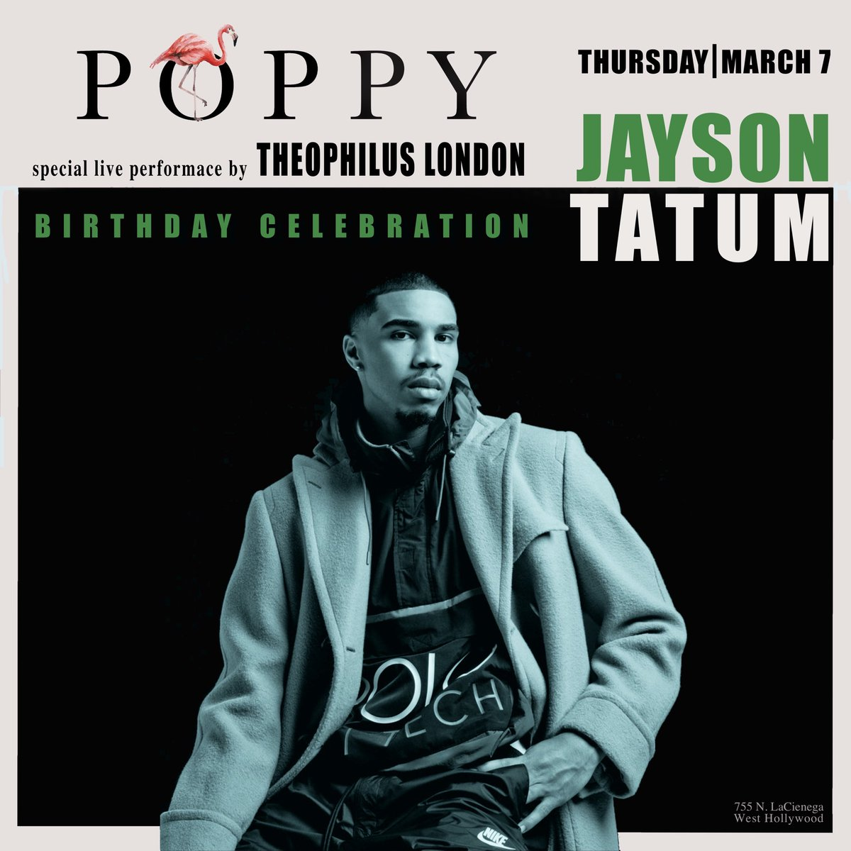 HBD @jaytatum0. | We're celebrating tonight with a special live performance by @TheophilusL. #Poppy
