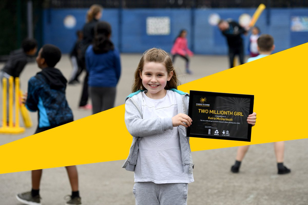 Meet Keira 👋  She's the TWO MILLIONTH girl to receive Chance to Shine coaching since 2005!  She loves playing cricket and her confidence has grown through taking part.  #InternationalWomensDay  Read all about her story ➡️ https://www.chancetoshine.org/news/charity-celebrates-two-million-girls-playing-cricket-on-international-womens-day-2019…