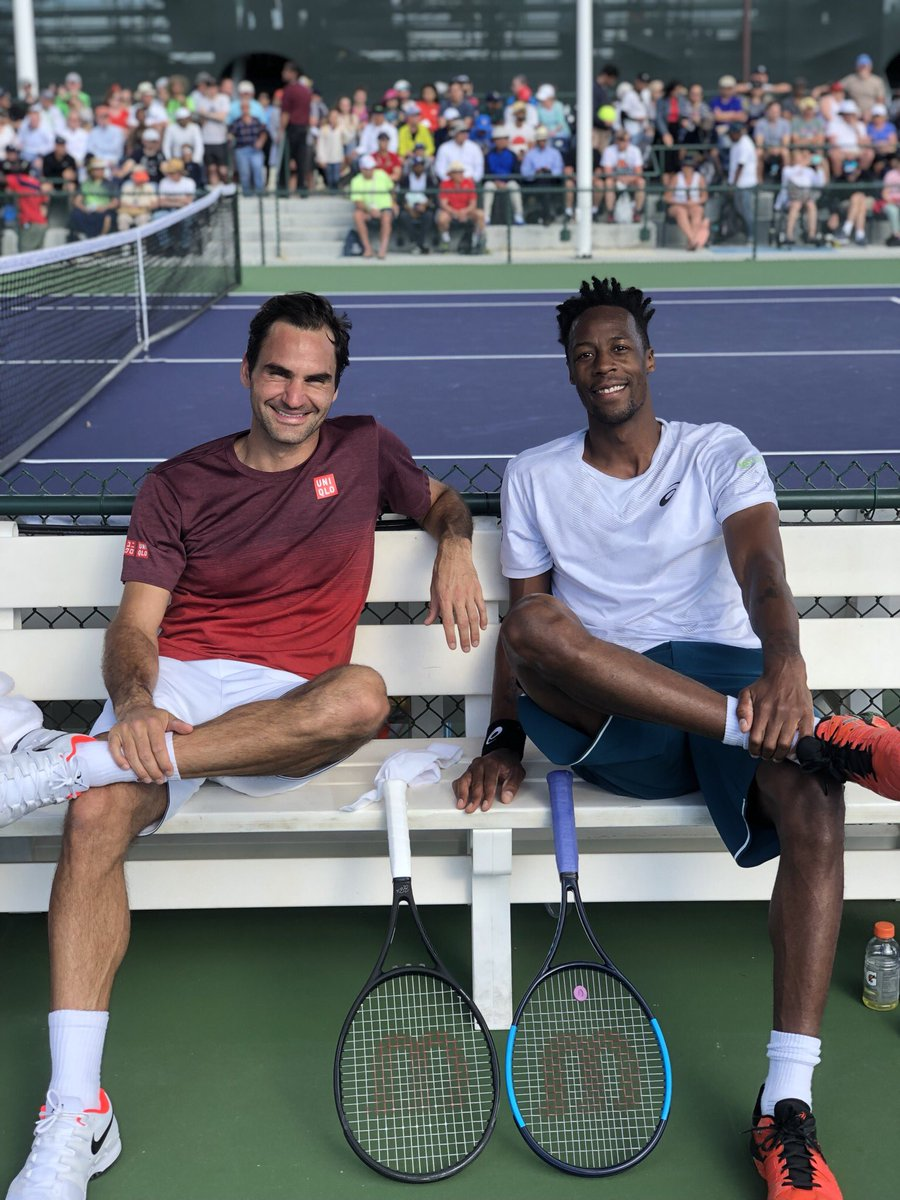 Great practice with Mr.💯 @rogerfederer