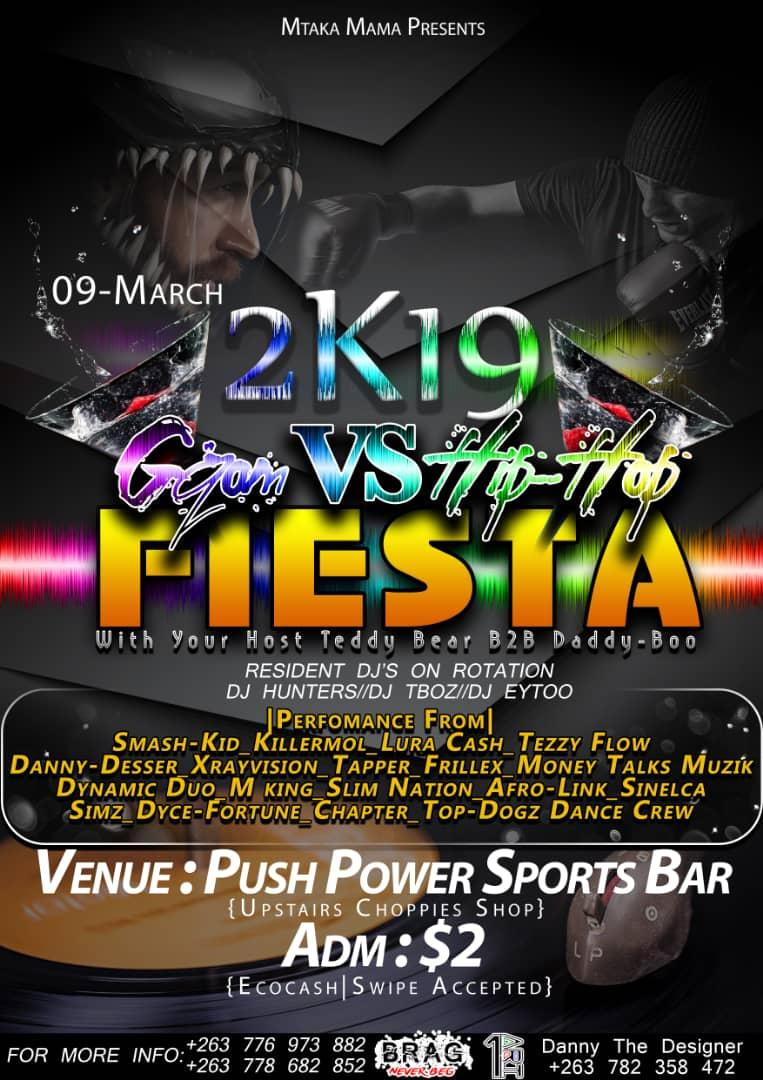 The first on a poster is always the best lol its the Bulawayo gqom vs hip hop fiesta tomorrow y'all cum through @miss_tee09 @BraKhesa @khulumanifm95 @SkyzMetroFM @ByoArtsAwards @ZiFMStereo @CulxureMagZim @ZimHipHopAwards @ZimHipHopWatch